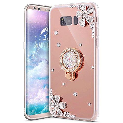 sefu Sparkle Bling Glitzer Diamant Blume Luxus Strass Weich Silikon TPU Halter Halterung Gummi Spiegel Fall mit Ring Ständer Gel Bumper Cover für Samsung Galaxy S8 rose gold ()