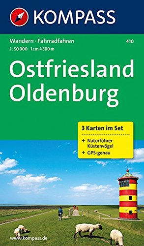 Ostfriesland - Oldenburg: Wanderkarten-Set mit Radrouten und Naturführer. GPS-genau. 1:50000 (KOMPASS-Wanderkarten, Band 410)