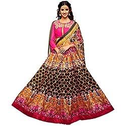 EthnicFiesta Attractive Georgette Satin Fabric,Multicolor,Disha Patani Printed Lehenga Saree