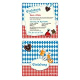 Einladungskarten (10 Stück) Bayrisch Oktoberfest Hochzeit Einladungen Hüttengaudi Bayern