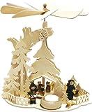 Holz Bastelset 3-D - Pyramide Eichenbaum mit Teelicht - komplett ausgesägt / zum selber basteln - Echt Erzgebirge - hergestellt in Deutschland - Deko für Weihnachten / Kinder + Erwachsene - Komplettset