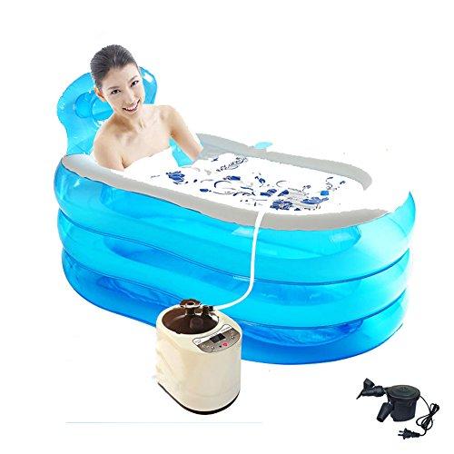 DMGF Faltbare Aufblasbare Badewanne Erwachsene Sauna SPA Freistehende Badewanne Mit Elektrischer Luft Pump150liter Blau/Pink,Blue