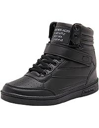 Wealsex Zapatillas de Cuña para Mujer Botas Botines Alta Zapatos Deportivos Oculto Talón Altura 3.5cm