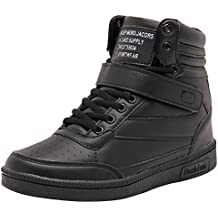 c57284e81cd Wealsex Zapatillas de Cuña para Mujer Botas Botines Alta Zapatos Deportivos  Oculto Talón Altura 3.5cm