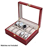 #8: Wooden 10 Slots Wrist Watch Storage Box Display Case Organizer with Cherry Finish and Glass Window ( 26cm X 12cm X9cm) by Kurtzy