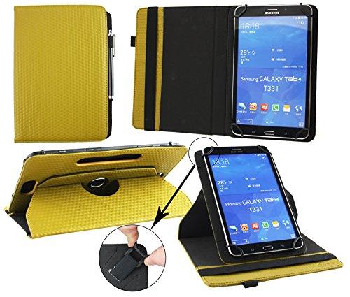 Emartbuy® Blaupunkt Polaris QC Tablet 7.85 Zoll Universal (7-8 Zoll) GepolsterteDesign Dark Senf 360GradrotierendeStandFolioGeldbörseTascheHülle + Schwarz Eingabestift