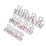 NBEADS 60pcs Colorful zufällige Mischung anderen Muster Binder Clips Klemmen, 3verschiedene Größe Metall Büro Papier Bandschellen mit einer Aufbewahrungsbox für Dokument, Schule Office Supplies