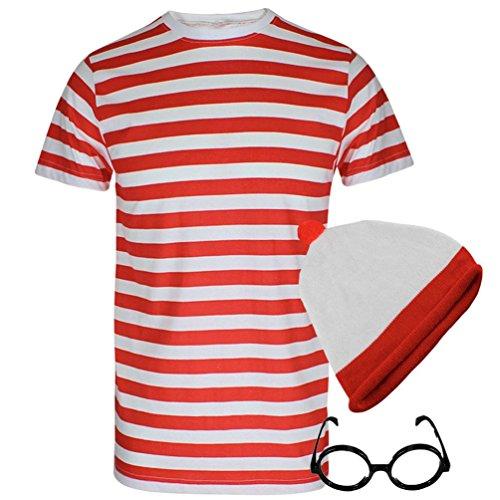 Damen Herren Wo Ist Nerdgeek-Brille Abendkleid Fresher Kostüm - Waldo Wenda Kostüme