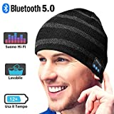Bonnet Bluetooth Cadeaux Hommes Original - Unisexe Music Bonnet Bluetooth Chapeau avec écouteurs Stéréo Sans Fil, Doux Chaleureux Bonnet Bluetooth d'hiver, Convient à Sports, Ski, Patinage, Marche