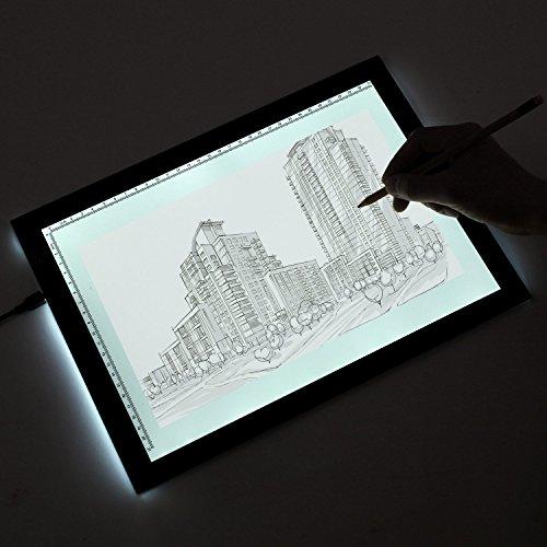 Cobee Leuchttisch A4 Leuchtkasten LED Light Pad Dimmbar Light Box Light Table Leuchtplatte Multifunktional Für Comic Tattoo Karikatur Architektur Malen Zeichnen Schreiben (3 Stufen)