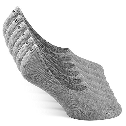 Snocks ® Herren & Damen Unsichtbare Sneaker Socken (6x Paar) Extra Großes Silikonpad Verhindert Verrutschen  - 6x Grau, 35 - 38 -
