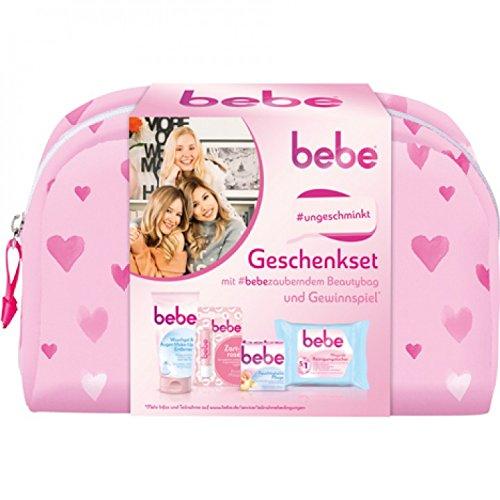 Bebe Geschenkset mit Beautybag (1x bebe Waschgel und Augen Make-Up Entferner, 1x bebe Lippenpflegestift Zartrosé, 1x bebe...