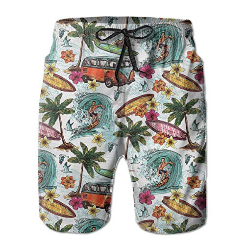 BagsPillow Men's Swim Trunks Hawaiian Surfer On Wavy Deep Sea Palms Flowers Casual Sportswear Quick Dry Beach Shorts for Boys Summer