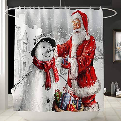 Duschvorhang Anti-Schimmel, Anti-Bakteriell, Wasserdichter Badvorhang Transparent 180 X 180 Cm [Umweltfreundlich] [Waschbar], Bad Vorhang FüR Badzimmer FüR Badezimmer 3D Santa Christmas Print