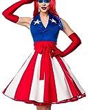 Damen Miss America Outfit Kostüm Verkleidung mit Kleid im USA Flaggen Look und Handschuhe in bunt XXL