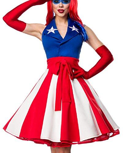 Damen Miss America Outfit Kostüm Verkleidung mit Kleid im USA Flaggen Look und Handschuhe in bunt (Miss Kostüme America)