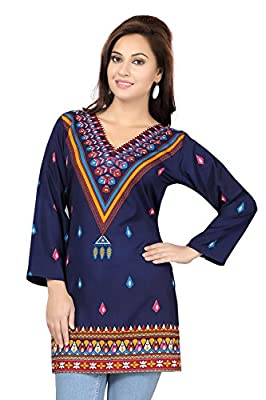 ALC Creations Women's Synthetic Printed Kurti - Blue Casual Wear