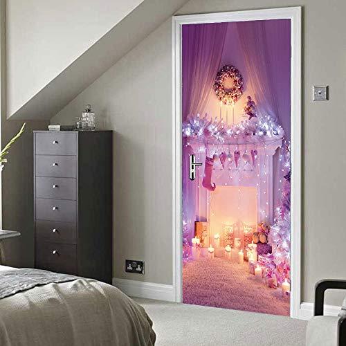 QTJKH 3D Puerta Mural Decorativas Pegatinas Decorativas Pared 3D Navidad Rosa Chimenea...
