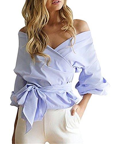 Ruiying Hemd Damen Frauen trägerlose Verband Bluse Damen trägerlosen V Ausschnitt Hemd Blau