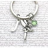 Tinker Bell Keyring, Fairy Keyring, Peter Pan Charm, Small Fairy Charm, Personalised Charm Keyring, Initial & Birthstone
