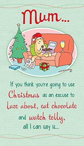 'Mum–Cat Essen Schokolade' Humor Weihnachtskarte (Flocken Essen)