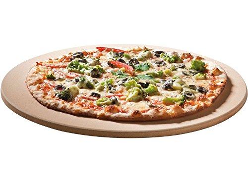 Santos Premium Pizzastein - rund 36,5 cm Ø - bis 1.000 Grad - für Gasgrills, Backofen, Holzkohlgrills, Brotbackbackstein geeignet