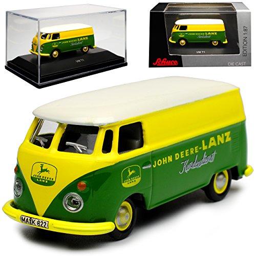 Schuco Volkwagen T1 Grün mit Gelb John Deere Lanz Kundendienst Samba Bully Bus 1950-1967 H0 1/87 Modell Auto