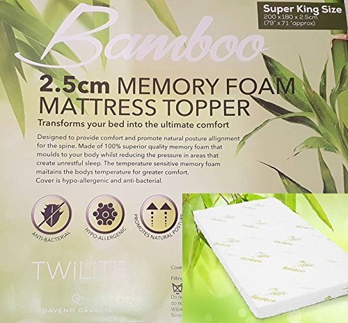 "Quality Bamboo Memory Foam Mattress Topper 1"" Ultrasoft Memory Foam, Orthopedic, Hypoallergenic( Double: 135 x 190 cm) 2"