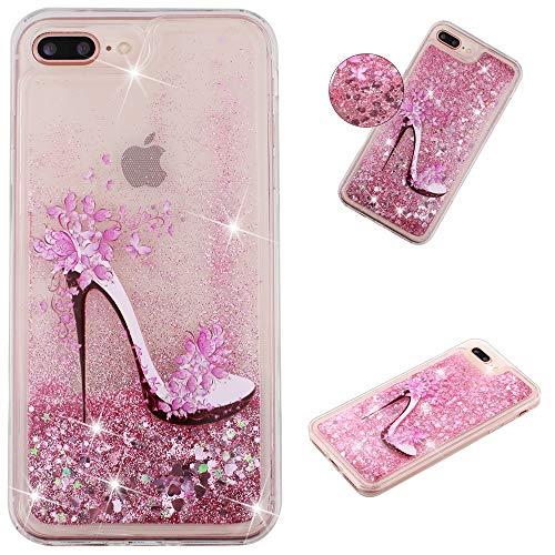 Miagon Flüssig Hülle für iPhone 7 Plus und iPhone 8 Plus,Glitzer Weich Treibsand Handyhülle Glitter Quicksand Silikon TPU Bumper Schutzhülle Case Cover-Rosa High Heels