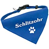 Hunde-Halsband mit Dreiecks-Tuch SCHLITZOHR, längenverstellbar von 32 - 55 cm, aus Polyester, in blau