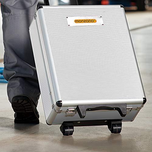 Monzana® Werkzeugkoffer gefüllt 729tlg ✔ abschließbar ✔ Aluminium Rollkoffer ✔ inkl. vielseitigem Zubehör & Arbeitshandschuhen ✔ Modellauswahl – Werkzeugkasten Werkzeugkiste Werkzeug Trolley bestückt - 3