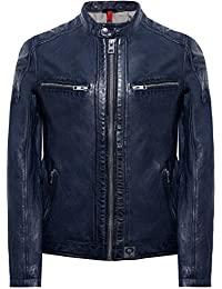 Oakwood Hombres Leather Roadster Vegas Jacket Azul