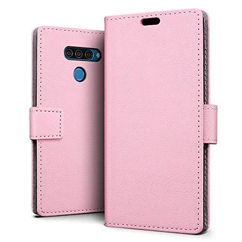 SLEO Funda para LG Q60/LG K12 Prime Carcasa Libro de Cuero Ultra Delgado Billetera Cartera [Ranuras de Tarjeta,Soporte Plegable,Cierre Magnético] Case Flip Cover para LG Q60/LG K12 Prime - Rosa