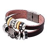 Gnzoe Herren/Damen PU Leder Armband Korn-Armband Einstellbar Schädel Lederarmband Partnerarmbänder Rot
