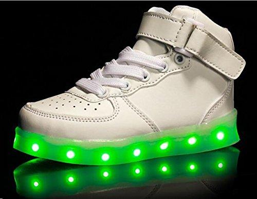 Firstmall-LED Chaussures High Top 7 Couleur Unisexe garçons et filles enfants USB Charge LED Lumière Lumineux Clignotants Chaussures de Sports Baskets Blanc