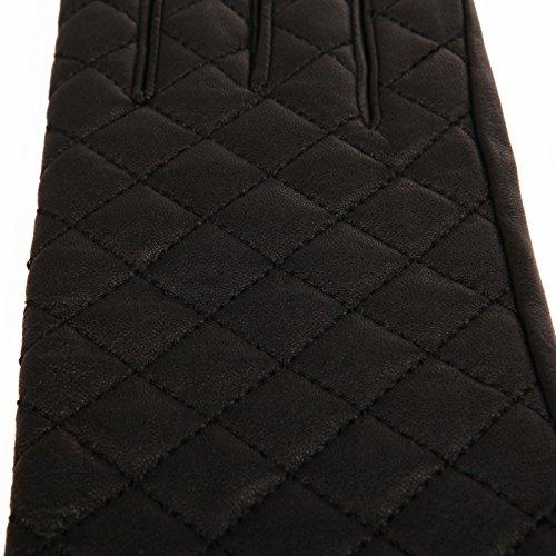 La Modeuse - Gants ajustés en cuir, effet matelassé Noir