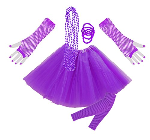Dress Fancy 1980er Kostüm - InnoBase 1980s Fancy Dress Zubehör Neon Erwachsener Tutu Beinwärmer Fishnet Pink Handschuhe Mehrfarbig Perlenkette Perlen Halsketten Armbänder 80er Mädchen Frauen Night Out Party Kleid(A4)