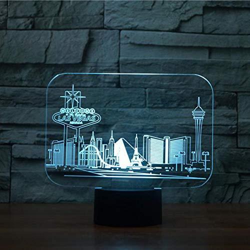 YDBDB Nachtlicht Las Vegas Gebäude 3D RGB 7 Farbwechsel Touch-Schalter Schlafzimmer Schreibtisch Tischlampe für Kinder Geschenk