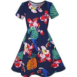 LD75 Sunny Fashion Vestido para niña Piña Hoja Flor Loro Impresión Tropical Sol 12 años