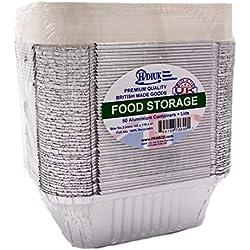 HDIUK Lot de 50 récipients alimentaires en aluminium pour congélateur/emporter/déjeuner/bouisserie/chili/aliments chinois Taille n°2 142 x 116 x 41 mm