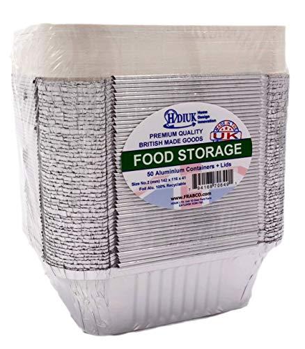 HDIUK - 50 recipientes de Aluminio para Alimentos
