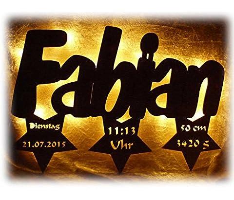Schlummerlicht24 Led 3d Geschenke Taufe Geburt Nachtlicht 3 Sterne Wunsch Name für Junge Mädchen Kommunion Kommunionsgeschenke