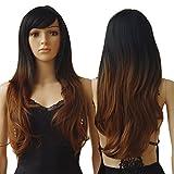 S-noilite® 70cm Damen Lang Ombre Haar Perücken Mode Gelockt Gewellt Perücke Kunsthaar Haar Cosplay Wig - Schwarz zu Kaffee Braun