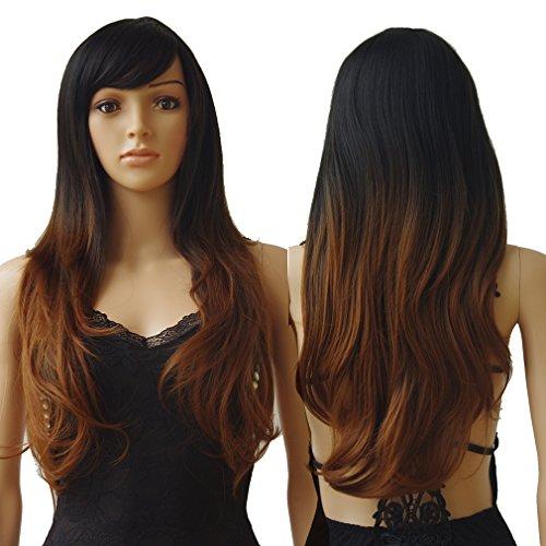 S-noilite - Peluca de pelo sintético largo y ondulado para mujer, 70 cm, resistente al calor, varios...