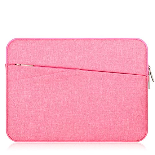 "KimTime 11.6 Inch Laptop Sleeve Case Bag Protective Bag for Macbook Air/ MacBook Pro / Surface Laptop/Book Protective Carrying Bag Case Cover for 11""-11.6"" Lenovo Dell HP ASUS Chromebook Notebook,Rose Red"