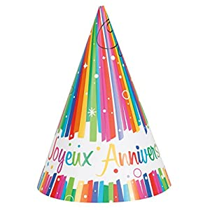 Unique Party-56911-Paquete de 8sombreros de fiesta cumpleaños feliz lazos multicolor