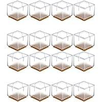 Mogoko 16 x Stuhlbeinkappen Silikon Fußboden Stuhlbein Schutz Öffnungs Caps Möbel Tischabdeckung Furniture Table Chair Legs Feet Covers Pads Protectors für 33-35MM Quadratisch Beine (Transparent)