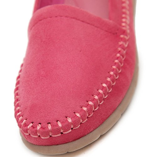 AgooLar Damen kunstleder Ziehen Auf Schließen Zehe Flache Schuhe Rot+Haut vor