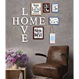 Art Street - LOVE HOME Set Of 5 Individual Wall Photo Frame (with Prints) + PVC Alphabets And Wooden Hanging Accessory