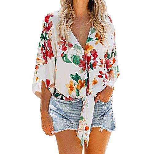 LuckyGirls • • Camisetas para Mujer, Camisetas sin Mangas de Verano para Mujer Camisas Mujer Fiesta Cuello en V botón Tirantes Camiseta de Tirantes Mujer Camiseta Deportiva Camisa de Verano